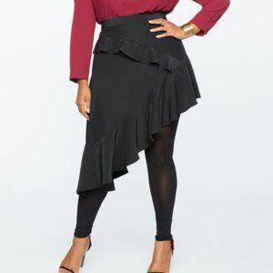 Eloquii Asymmetrical Hem Ruffle Skirt Black 20